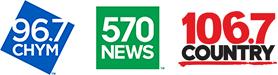96.7 CHYM FM/570 News/Country 106.7 FM logos