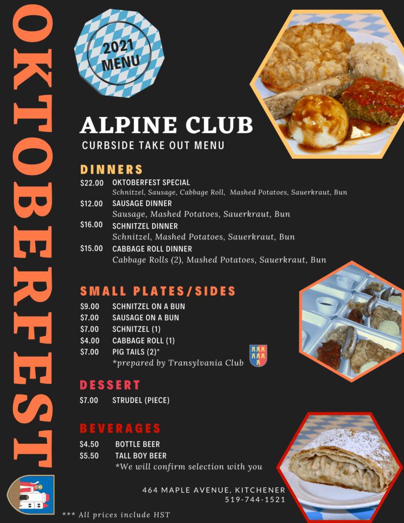 Alpine Club Oktoberfest 2021 Curbside Pickup Menu